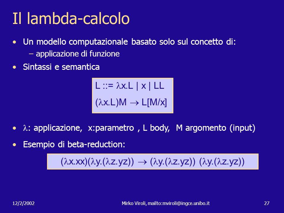 Il lambda-calcolo L ::= x.L | x | LL (x.L)M  L[M/x]